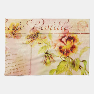 Postal de la flor del pensamiento del vintage toallas de mano