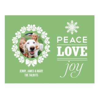 Postal de la foto del navidad - paz, amor, y alegr