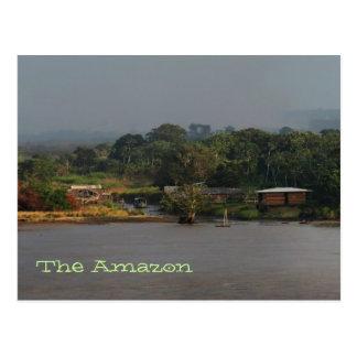 Postal de la foto del pueblo del río Amazonas