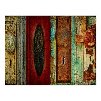 Postal de la fotografía del botón de puerta del vi