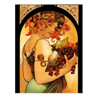Postal de la fruta de Alfonso Mucha