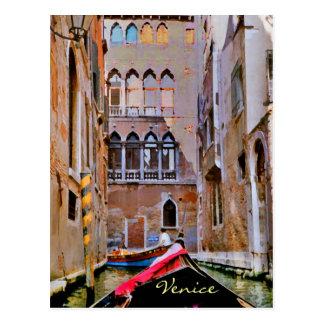 Postal de la góndola de Venecia Italia