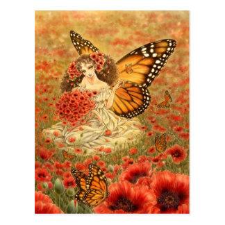 Postal de la hada de la mariposa de monarca