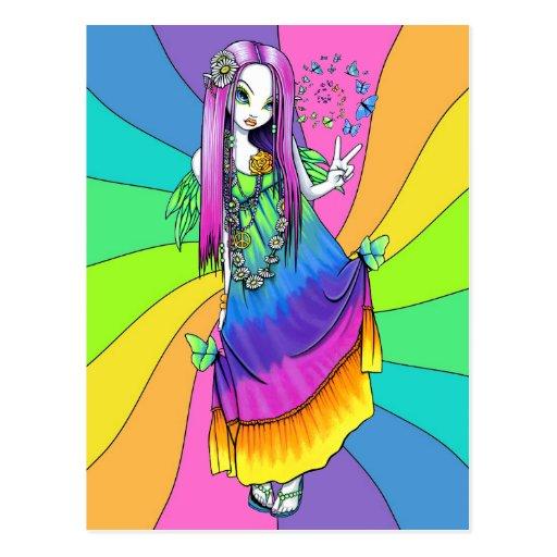Postal de la hada del Hippie de la paz del arco ir
