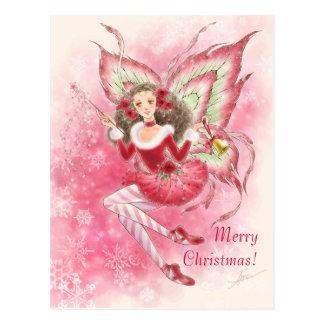 Postal de la hada del navidad