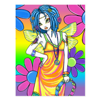 Postal de la hada del niño de flor del arco iris d