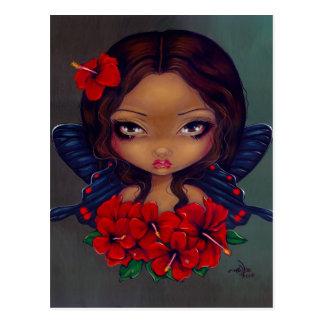 Postal de la hada roja del hibisco