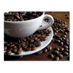 Postal de la impresión de los granos de café