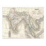 Postal de la impresión del mapa de la India del Vi
