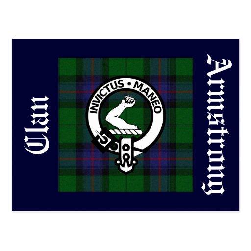 Postal de la insignia del tartán y del escudo de A