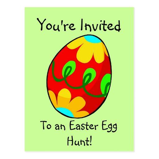 Postal de la invitación de la caza del huevo de Pa