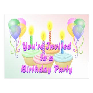 Postal de la invitación de la fiesta de cumpleaños