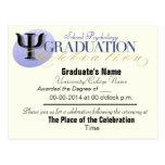 Postal de la invitación de la graduación de la psi