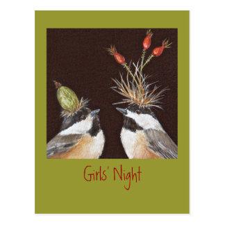 Postal de la invitación de la noche de los chicas