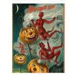 Postal de la invitación del diablo de Halloween de