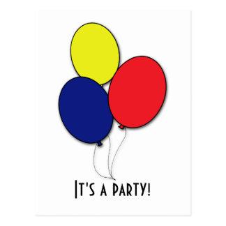 Postal de la invitación del fiesta