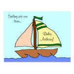 Postal de la invitación del nacimiento del velero