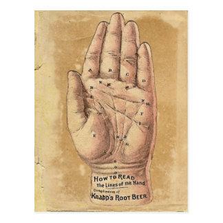 Postal de la lectura de la palma