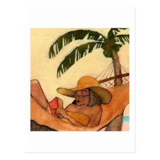 Postal de la lectura de la playa