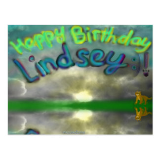 Postal de la leona de Lindsey del feliz cumpleaños