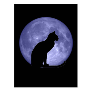 Postal de la luna azul del gato negro