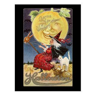 Postal de la luna de la bruja de Halloween del