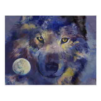 Postal de la luna del lobo gris