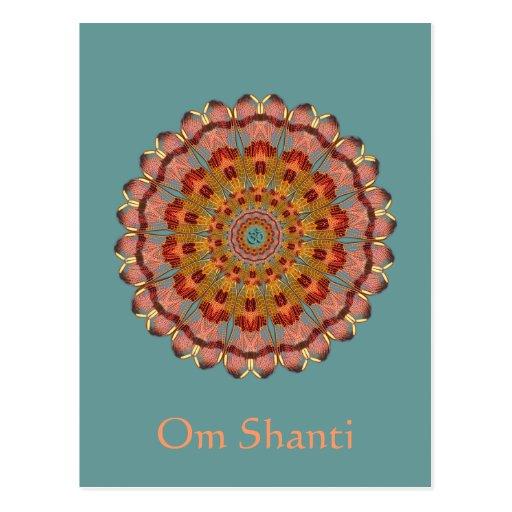 Postal de la mandala de OM Shanti del ala de la li