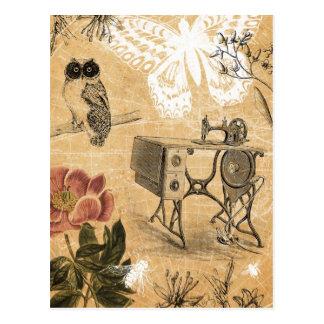 Postal de la máquina de coser del vintage