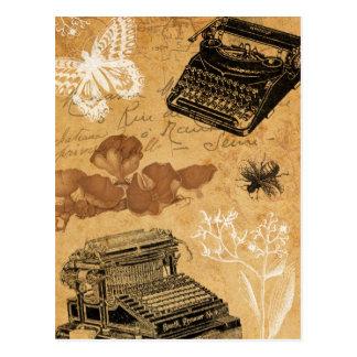 Postal de la máquina de escribir del vintage