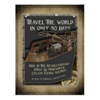 Postal de la máquina de vuelo de Steampunk