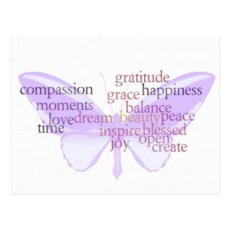 Postal de la mariposa de la alegría y de la gratit
