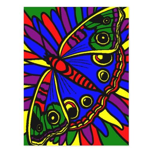 Postal de la mariposa del vitral del arte de Digit