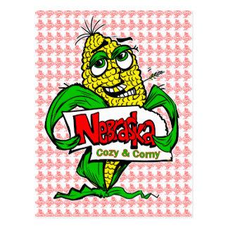 Postal de la mazorca de maíz del dibujo animado de