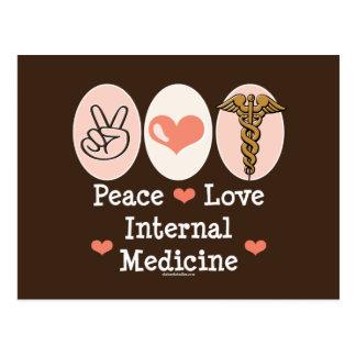 Postal de la medicina interna del amor de la paz