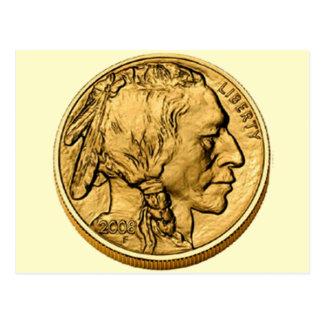 Postal de la moneda de Bulion del oro del búfalo d