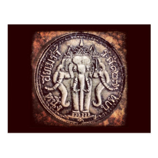 Postal de la moneda del elefante del baht de Taila