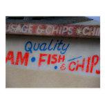 Postal de la muestra de los pescado frito con pata