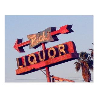 Postal de la muestra del vintage del licor de Rick