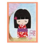 Postal de la muñeca de Sakura Kokeshi
