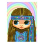 Postal de la muñeca del Hippie del flower power