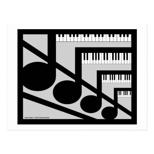 Postal de la música del piano