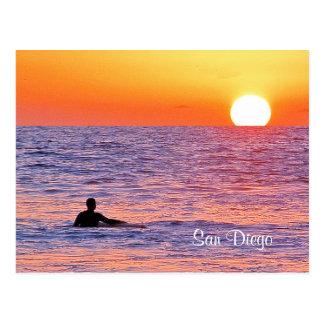 Postal de la nadada de la puesta del sol de San
