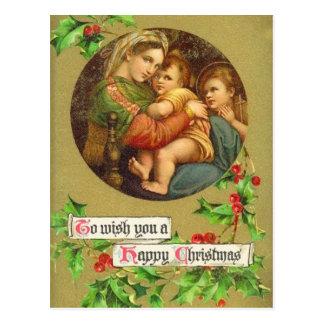 Postal de la natividad del navidad del vintage