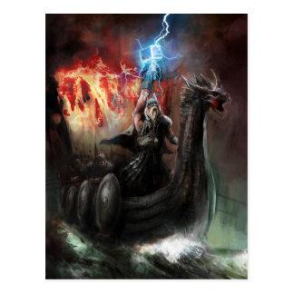 Postal de la nave de Viking del dragón