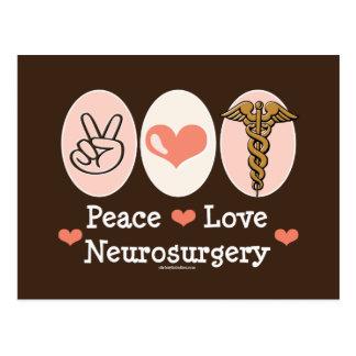 Postal de la neurocirugía del amor de la paz