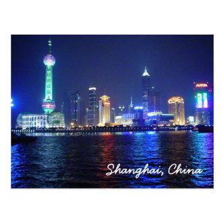 Postal de la noche de Shangai