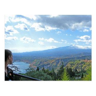 Postal de la opinión del monte Etna