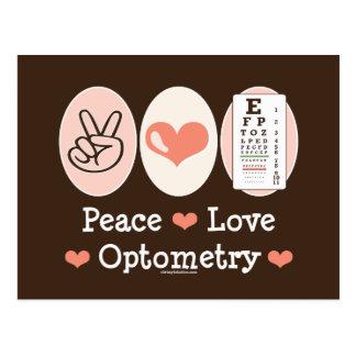 Postal de la optometría del amor de la paz