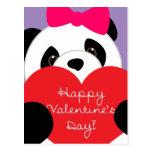 Postal de la panda del chica del día de San Valent